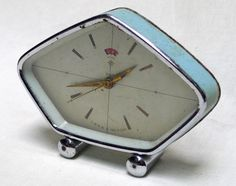 See what time it is in Paris ...  Retro Light Blue Small Metal Alarm Clock with Date and by Secousse, €15.00