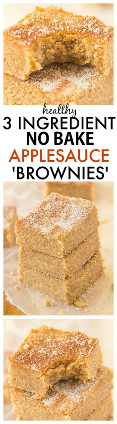 Healthy No Bake Applesauce Brownies with just THREE ingredients- So delicious, quick, low in fat and easy, it will be your go-to snack or treat recipe! {vegan, gluten-free, paleo} -thebigmansworld.com #freezerfriendly #healthy #kidfriendly