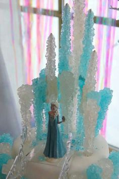 Elsa's Castle Cake with Rock Candy...this is so creative and pretty!