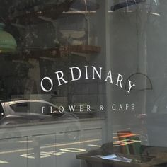Nice typography on glass Korean Aesthetic, Aesthetic Themes, White Aesthetic, Aesthetic Pictures, Flower Cafe, Mood And Tone, Coffee Shop, Signage, At Least