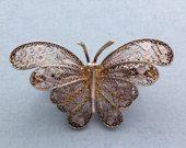 Vintage Filigree Butterfly Pin / Brooch