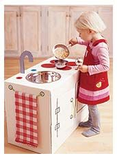 make a play kitchen out of a card board box! cool idea :)   Materials:  Large cardboard box (ours measures 14 by 18 by 26 inches), Tacky glue, Additional flat cardboard (cut from a box is fine), Scissors, craft knife, and pencil, Metal bowl with 1/2-inch lip, White paint, colored craft paint, and brushes (optional), Cord or kitchen twine