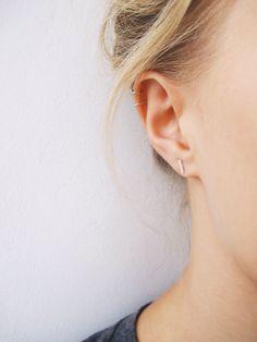 Bar Earrings  Staple Earrings  Simple Studs  by WildFawnJewellery