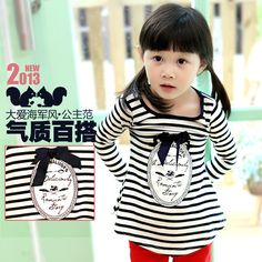 2013 autumn korean version of the new childrens clothing baby girls striped long-sleeved t-shirt bottoming shirt t0111 only $11.09USD a Piece