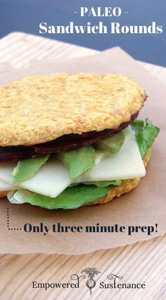 Paleo Sandwich Rounds - only 3 minute prep! Also great for hamburger buns #food #paleo #glutenfree