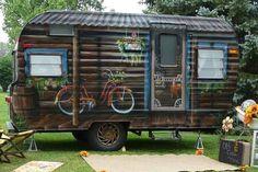 Log cabin camper wrap