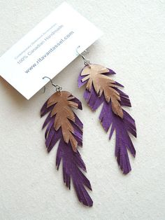Items similar to Long Soft Satin Purple and Copper Feather Earrings on Etsy Feather Earrings, Copper, Place Card Holders, Craft Ideas, Purple, My Style, Board, Pretty, How To Make