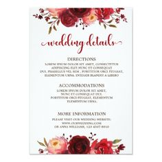 Burgundy Marsala Red Roses Floral wedding details Card - wedding invitations cards custom invitation card design marriage party