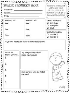 Back to School New Student Information Form | Students, School and ...
