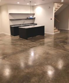 Cleaning and sealing interior concrete floors are a budget-friendly alternative to installing epoxy flake flooring or acid staining Stained Cement Floors, Concrete Floors In House, Cleaning Concrete Floors, Seal Concrete Floor, Finished Concrete Floors, Clean Concrete, Metal House Plans, Basement Remodeling, Basement Flooring
