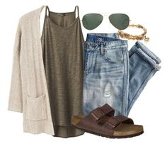 """School"" by snbarr18 on Polyvore featuring prAna, J.Crew, MANGO, Birkenstock, Alex and Ani and Ray-Ban"