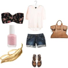 Perfect Summer outfit, love the Bandeau and Bag!!!, created by stephlefebvre