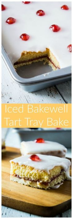 Iced Bakewell Tart Tray Bake - Take the classic cherry Bakewell tart recipe and make it into a tray bake! A golden layer of shortcrust pastry filled with an almond cake, strawberry jam, and topped with icing and glacé cherries! Tart Recipes, Sweet Recipes, Baking Recipes, Dessert Recipes, Tray Bake Recipes, Fruit Dessert, Bolo Normal, Delicious Desserts, Yummy Food