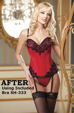Shirley of Hollywood Melrose Lace Corset Satin and Eyelash Lace Corset Set  has slimming boning bbe4f6e93