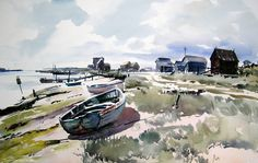 Doodlewash - Plein Air Watercolor Painting by Jem Bowden of boats and sea at…