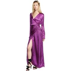 Attico Women Frayed Silk Satin Wrap Dress (1,895 CAD) ❤ liked on Polyvore featuring dresses, purple, longsleeve dress, purple wrap dress, tie belt, long sleeve dresses and wrap dress