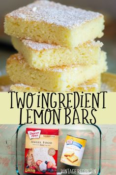2 ingredient lemon bars are made from just one can of lemon pie filling and one box of angel food cake mix. Vintage Recipe Tin 2 ingredient lemon bars are made from just one can of lemon pie filling and one box of angel food cake mix. Homemade Desserts, Köstliche Desserts, Delicious Desserts, Yummy Food, Healthy Lemon Desserts, Low Calorie Desserts, Homemade Fudge, Healthier Desserts, Homemade Vanilla