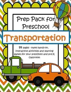 This is a comprehensive set of printables with a TRANSPORTATION theme - make hands-on, interactive activities and learning games for your preschool and pre-K classroom. Engaging graphics, most activities are developmentally appropriate for ages 3 - 5, and SPED. 99 pages.