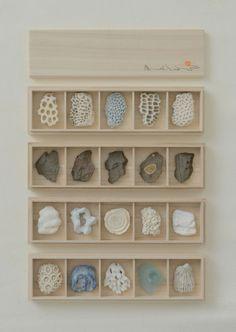 箸置き珊瑚、貝殻、石、ガラス桐箱 2014年 9月