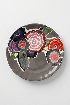 gray and flower plate