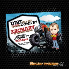 Monster Truck Invite, Monster Truck Birthday, Monster Invitation, Monster Truck,Truck Birthday, Photo Invitation on Etsy, $12.50