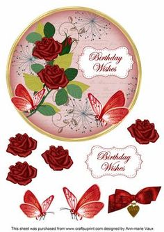 Red Rose Birthday Wishes 7in Circle Decoupage Topper on Craftsuprint - Add To Basket!