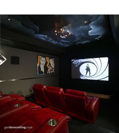 I love the ceiling in this home theater.