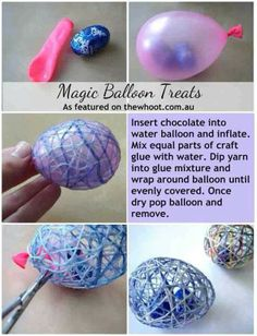 Magic Balloon Treats...great idea for Easter :) What an awesome use for yarn scraps too.
