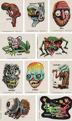 Monster Stickers, Monster Cards, Graphic Design Illustration, Illustration Art, Basil Wolverton, Jamel Shabazz, Character Art, Character Design, Monster Drawing