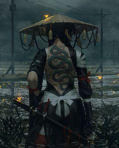 Female ninja character digital wallpaper, warrior, fantasy art, samurai, sword HD wallpaper