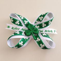 Lucky Charm children's hair bow by JustForJillian on Etsy