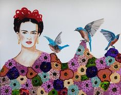 """Frida and The Blue Birds"" 60 x 48. Description - Acrylic and mixed media on canvas, heavy resin."