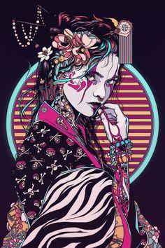 Geisha - 2017 on behance arrrt&design в 2019 г. art samouraï, fond d&ap Art Geisha, Geisha Kunst, Geisha Drawing, Art Anime, Anime Kunst, Art And Illustration, Girl Illustrations, Art Sketches, Art Drawings