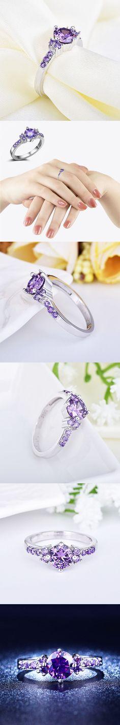 Hot 1PC Round Zircon Purple Crystal Titanium Steel Women Engagement Rings Fashion Jewelry