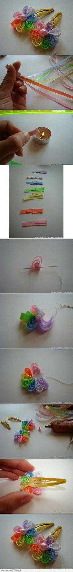 DIY Ribbon Flower Hair Clip DIY could use this on a wreath too Diy Ribbon Flowers, Ribbon Art, Ribbon Crafts, Flower Crafts, Ribbon Bows, Fabric Flowers, Diy Crafts, Flower Diy, Paper Flowers
