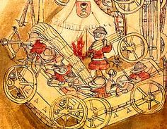 A Hussite war wagen - Wagenburg. http://www.medievalists.net/2014/07/27/boundaries-making-historiography-isolation-late-medieval-bohemia/ #Bohemia #Hussite #medieval