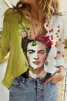Style Casual,Daytime,Holiday Pattern Frida Kahlo,Floral Detail Paneled,Print,Buttons down,Color-block Collar Shirt collar Sleeve Type Long sleeves Material Polyester Season Spring,Fall,Winter Occasion Going out,Daily life,Travel Mode Outfits, Chic Outfits, Vintage Bohemian, Boho, Frida Art, Mode Glamour, Estilo Hippie, Blouse Vintage, Mode Style