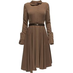 LATTORI Noble Brown Treasure Dress with a Wavy Hem (€195) ❤ liked on Polyvore featuring dresses, star wars, lattori, vestidos, short dress, long-sleeve mini dress, mini dress, long sleeve dress, longsleeve dress and brown long sleeve dress