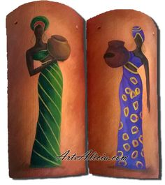 African Art For Kids, African Crafts, African Drawings, African Art Paintings, Native American Pottery, Painted Wine Bottles, Africa Art, Art N Craft, Bottle Painting