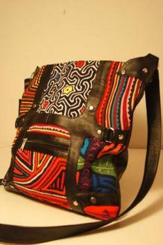 "Handwoven ""mola"" and leather bag"