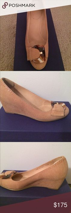 Stuart Weitzman Bucalina Pan Lizette wedges Gorgeous tan with horn like buckle wedges .  Size 8.5M   Worn twice. Perfect for Spring and Summer - wear with everything!  Original box. Stuart Weitzman Shoes Wedges
