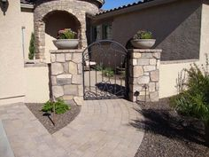 front courtyard patios | Front courtyard with fountain and paver patio