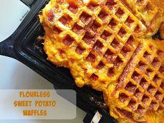 Flourless Sweet Potato Waffles | http://www.thekitcheneer.com/2015/05/30/flourless-sweet-potato-waffles/