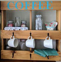 Coffee cup holder coffee mug holder coffee cup rack mug rack diy kitchen dec Copper Kitchen Decor, Colorful Kitchen Decor, White Kitchen Decor, Kitchen Cabinets Decor, Cute Kitchen, Kitchen Decor Themes, Diy Kitchen, Turquoise Kitchen, Teal Kitchen