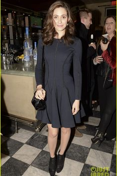 Emmy Rossum wearing Ralph Lauren Ricky Patent Leather Satchel