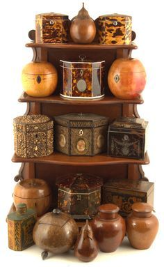 Antique Tea Caddies Collection Wood, Carved Wood, Tortoise Shell, Shell, etc...England Circa 1750 - 1850