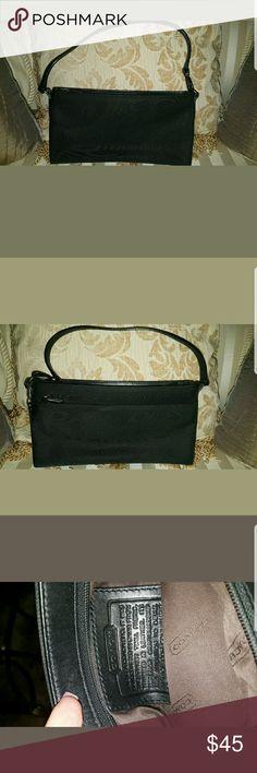 100% Authentic Black Coach Baguette Purse 100% authentic small black Coach purse. Excellent condition. Canvas with leather trim. Coach Bags Mini Bags