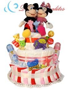 Tarta de pañales Gemelar Mickey y Minnie  Tarta muy completa ideal para niño y niña. Por experiencia propia... Doble felicidad!!!