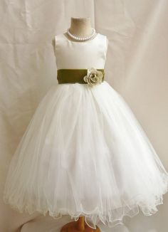 Flower Girl Dress IVORY/Green Olive FL Wedding by NollaCollection, $34.99