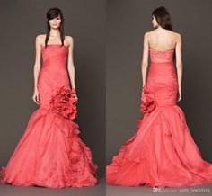 Discount Delicate Mermaid Prom Dress 2015 Strapless Red Evening Gowns Pleated Lace Organza Custom Made Backless Formal Dress Sweep Train On Sale 2014 Online with $116.71/Piece   DHgate